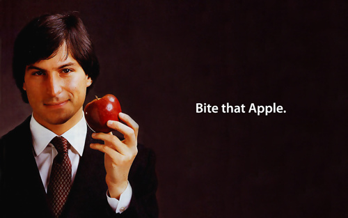 Steve Jobs with his Apple.